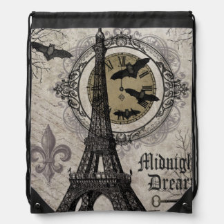 modern vintage french halloween Eiffel tower Drawstring Backpack