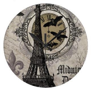 modern vintage french halloween Eiffel tower Large Clock