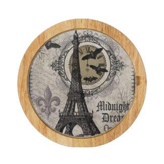 modern vintage french halloween Eiffel tower Round Cheese Board