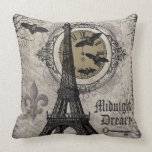 modern vintage french halloween Eiffel tower Pillow