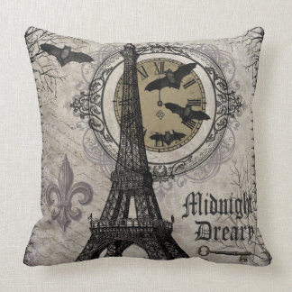 modern vintage french halloween Eiffel tower Pillow