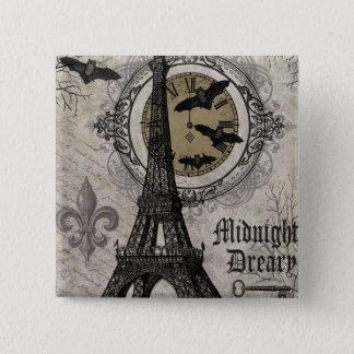 modern vintage french halloween Eiffel tower Pinback Button