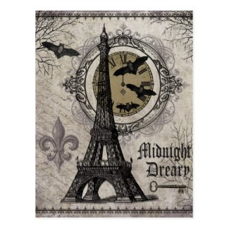 modern vintage french halloween Eiffel tower Postcard