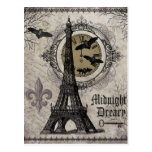 modern vintage french halloween Eiffel tower Postcard