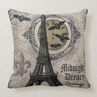 modern vintage french halloween Eiffel tower Throw Pillow