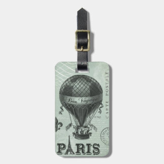 modern vintage french hot air balloon luggage tag