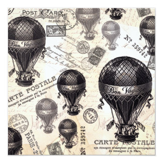 modern vintage French hot air balloons Card