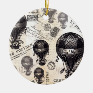 modern vintage French hot air balloons Ceramic Ornament