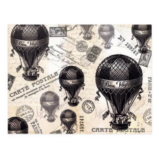 modern vintage French hot air balloons Postcard