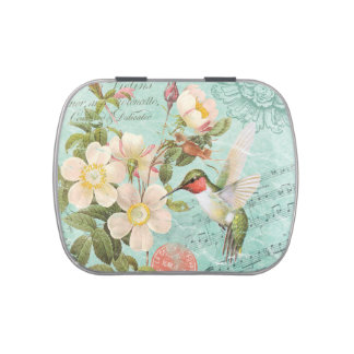 modern vintage french hummingbird mint tin can candy tins