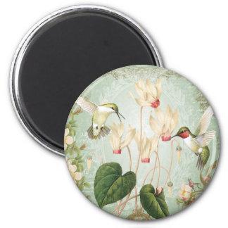 Modern Vintage French Hummingbirds 2 Inch Round Magnet