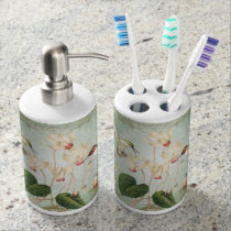 Modern Vintage French Hummingbirds Bath Set