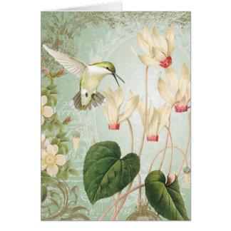 Modern Vintage French Hummingbirds Card