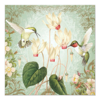 Modern Vintage French Hummingbirds Card
