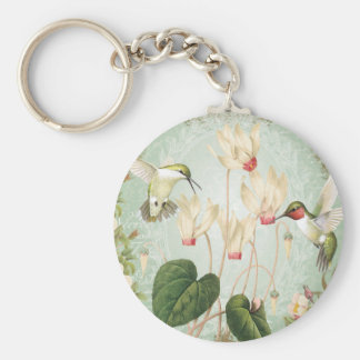 Modern Vintage French Hummingbirds Keychain