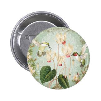 Modern Vintage French Hummingbirds Pinback Button