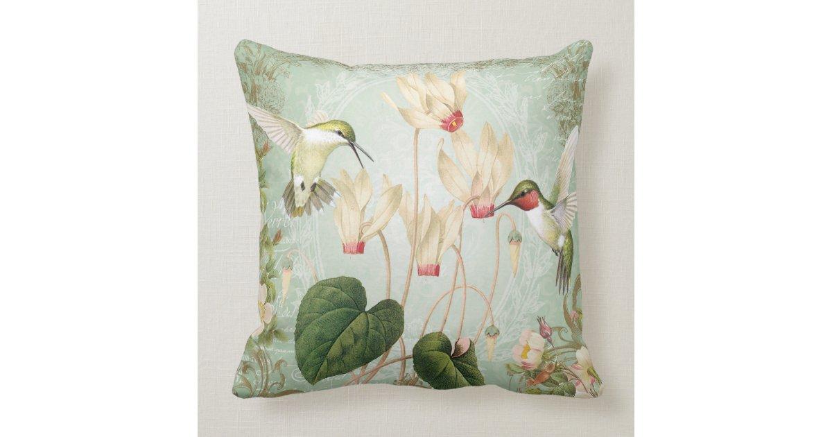 Modern Vintage French Hummingbirds Throw Pillow Zazzle