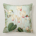 Modern Vintage French Hummingbirds Throw Pillows