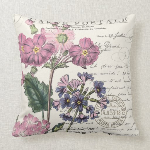 Modern Vintage Pillows : modern vintage french lavender floral pillow Zazzle