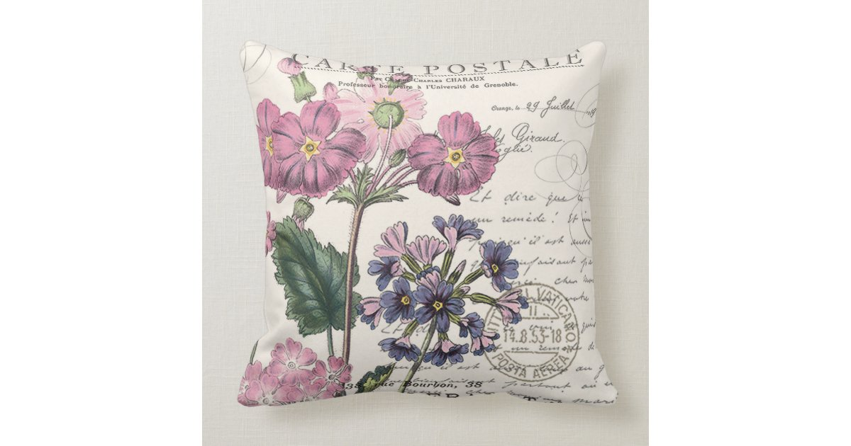 Lavender Flower Throw Pillow : modern vintage french lavender floral throw pillow Zazzle