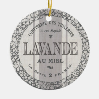 modern vintage French Lavender grain sac Double-Sided Ceramic Round Christmas Ornament