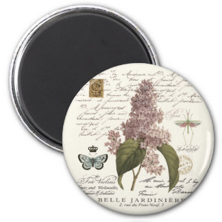 modern vintage French Lilacs 2 Inch Round Magnet