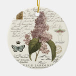 modern vintage French Lilacs Double-Sided Ceramic Round Christmas Ornament