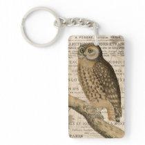 modern vintage french owl keychain
