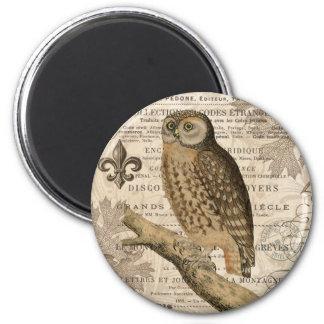 modern vintage french owl magnet