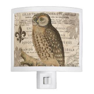 modern vintage french owl night light