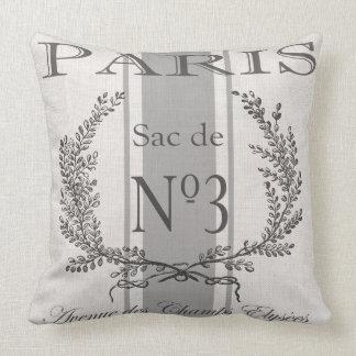 Modern Vintage French Paris grain sac Throw Pillow