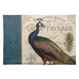 modern vintage french peacock cloth placemat