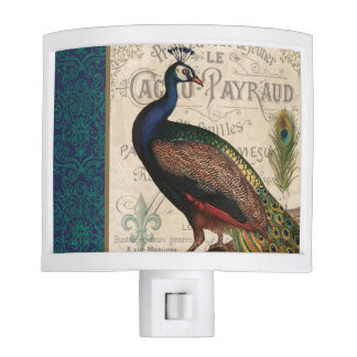 modern vintage french peacock night light