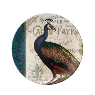 modern vintage french peacock porcelain plate