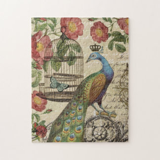 modern vintage french peacock jigsaw puzzles