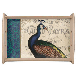 modern vintage french peacock service tray
