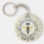 Modern vintage french queen bee basic round button keychain