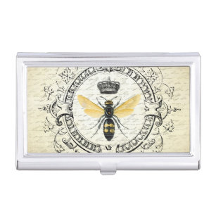 Vintage business card holders cases zazzle modern vintage french queen bee business card holder colourmoves