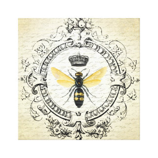 Modern vintage french queen bee canvas print