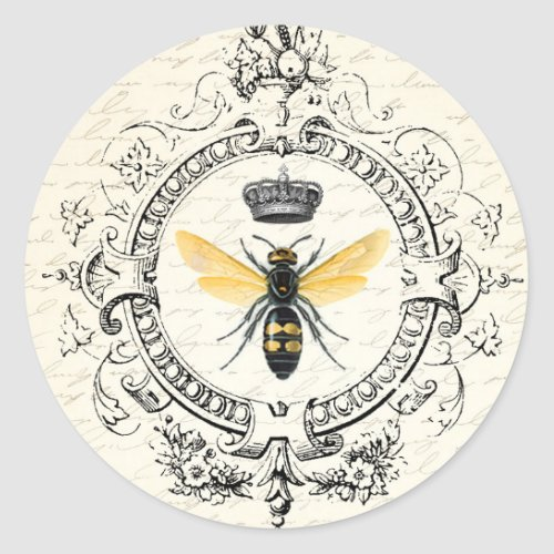 MODERN VINTAGE french queen bee Classic Round Sticker