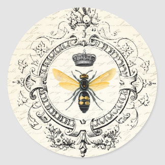 MODERN VINTAGE french queen bee Classic Round Sticker
