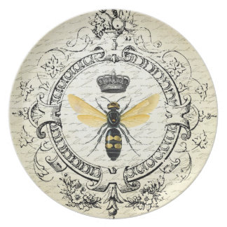 Modern vintage french queen bee dinner plate