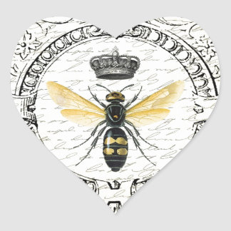 MODERN VINTAGE french queen bee Heart Sticker