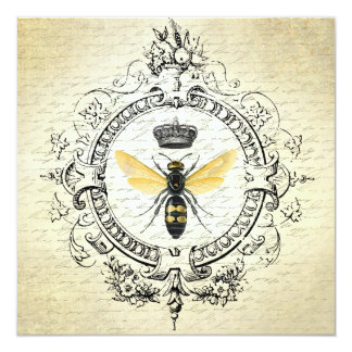 """modern vintage french queen bee 5.25"""" square invitation card"""