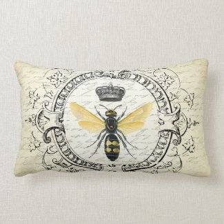 modern vintage french queen bee lumbar pillow