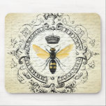 """Modern vintage french queen bee mouse pad<br><div class=""""desc"""">Modern vintage french queen bee</div>"""