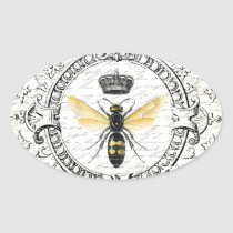 MODERN VINTAGE french queen bee Oval Sticker