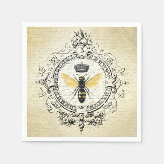 modern vintage french queen bee paper napkin