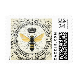 Modern vintage french queen bee postage stamp