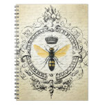 Modern vintage french queen bee spiral notebook